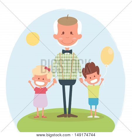 Senior people happy leisure time with granddaughter. Happy Grandfather with little granddaughter and grandson. Vector illustration