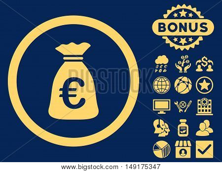 Euro Money Bag icon with bonus design elements. Vector illustration style is flat iconic symbols yellow color blue background.