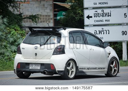 CHIANGMAI THAILAND -AUGUST 18 2016: Private car toyota Yaris. Photo at road no 121 about 8 km from downtown Chiangmai thailand.