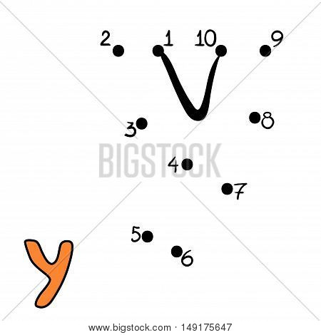 Numbers game for children, education dot to dot game, Letter Y