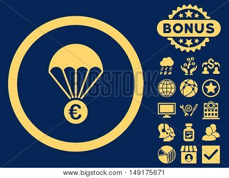 Euro Parachute icon with bonus pictogram. Vector illustration style is flat iconic symbols yellow color blue background.