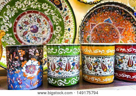 Classical Turkish Ceramics On The Istanbul Grand Bazaar.