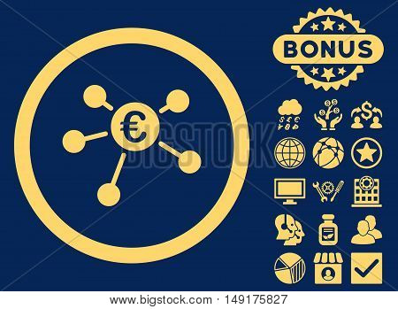 Euro Payments icon with bonus pictures. Vector illustration style is flat iconic symbols yellow color blue background.