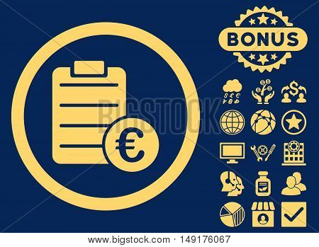 Euro Prices icon with bonus elements. Vector illustration style is flat iconic symbols yellow color blue background.