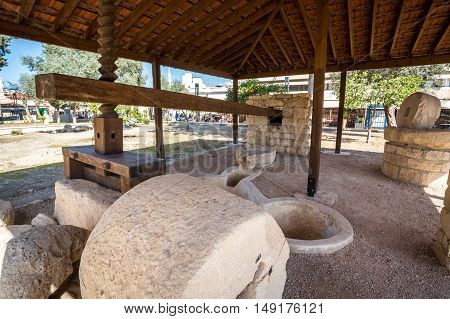 Ancient wine press next to Limassol castle Republic of Cyprus