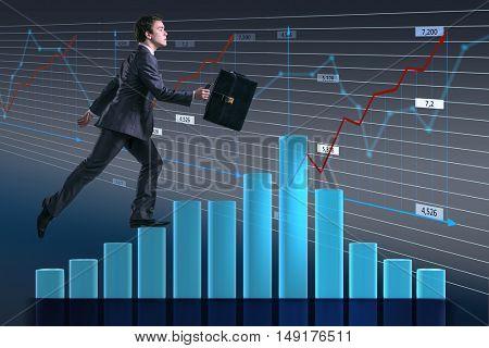 Businessman climbing career ladder as trader broker