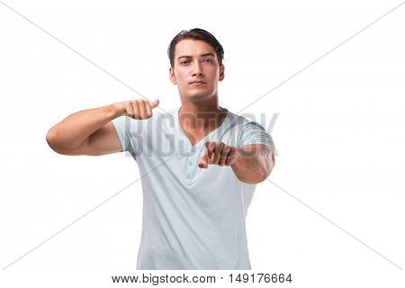 Young handsome man isolated on the white background