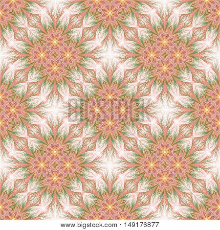 Beautiful seamless flower pattern in fractal design. Artwork for creative design art and entertainment.