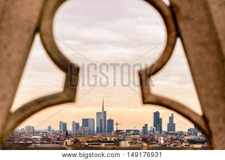 Milan Italy. Cityscape View from the Duomo