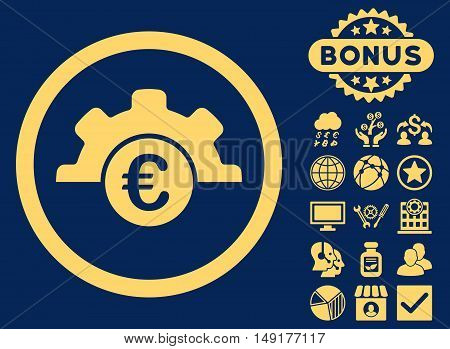 Euro Technology icon with bonus pictures. Vector illustration style is flat iconic symbols yellow color blue background.