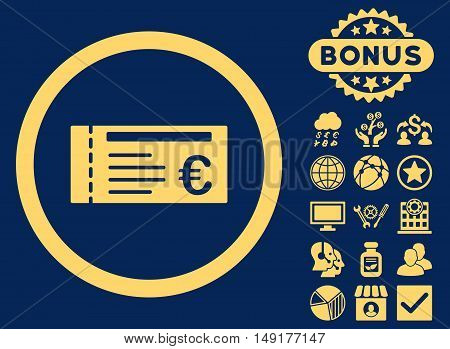 Euro Ticket icon with bonus pictogram. Vector illustration style is flat iconic symbols yellow color blue background.