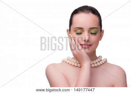 Woman with pearl necklace isolated on white