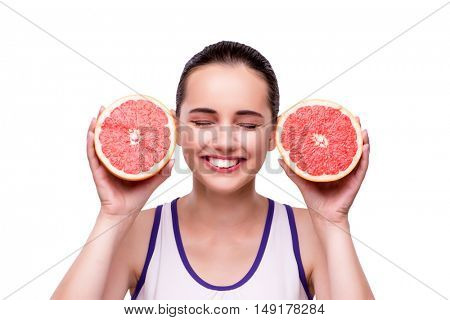 Woman with grapefruit isolated on white