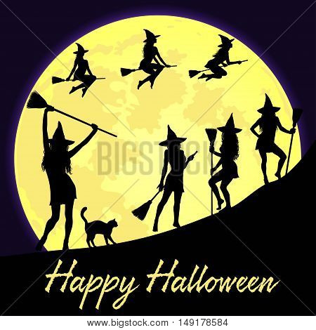 Halloween background with dancing and flying witches shining fool moon and lettering Happy Halloween.