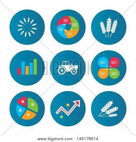 Business pie chart. Growth curve. Presentation buttons. Agricultural icons. Wheat corn or Gluten free signs symbols. Tractor machinery. Data analysis. Vector