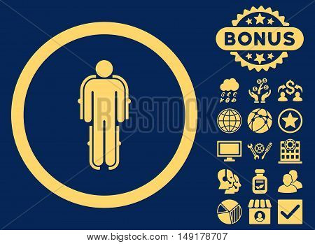 Exoskeleton icon with bonus pictogram. Vector illustration style is flat iconic symbols yellow color blue background.