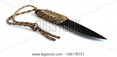 Black knife with the rope handle on white background