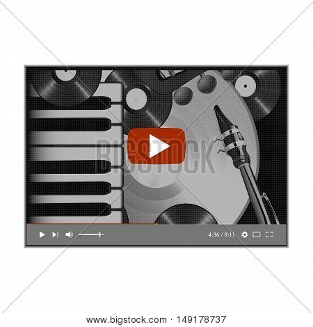 Browser video player with a musical background piano keys saxophone neck of the guitar and vinyl records. Isolated object on a white background can be used with any image or text.