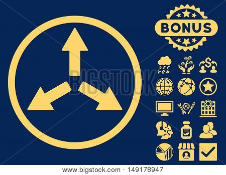 Expand Arrows icon with bonus pictogram. Vector illustration style is flat iconic symbols yellow color blue background.