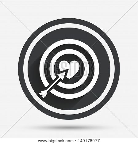 Target aim sign icon. Darts board symbol with heart in the center. Circle flat button with shadow and border. Vector