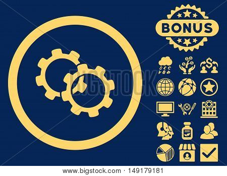 Gears icon with bonus design elements. Vector illustration style is flat iconic symbols yellow color blue background.