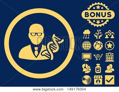Genetic Engineer icon with bonus pictures. Vector illustration style is flat iconic symbols yellow color blue background.