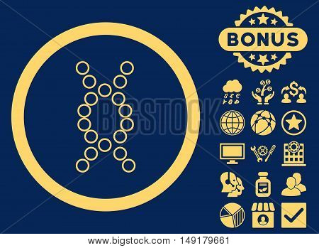 Genome icon with bonus pictogram. Vector illustration style is flat iconic symbols yellow color blue background.