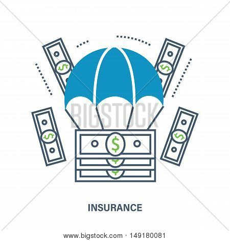 Business Insurance Services. Vector illustration. Can be used for workflow layout, banner, diagram, web design, infographics