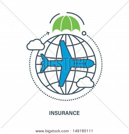 Business Insurance services of travel companies and air flights. Vector illustration. It can be used for an arrangement of technological process, a banner, the chart, web-design, infographics.