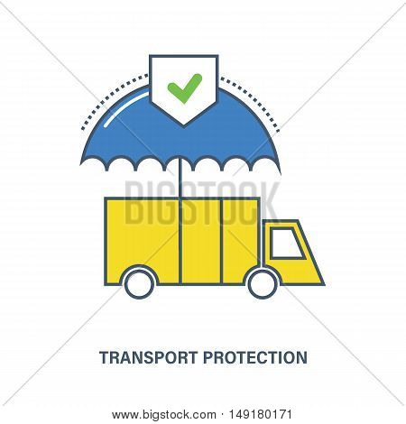 Illustration of property insurance, as a means of transport and vehicles. The composition may be used for advertising banners, web design, brochures, commercial projects.