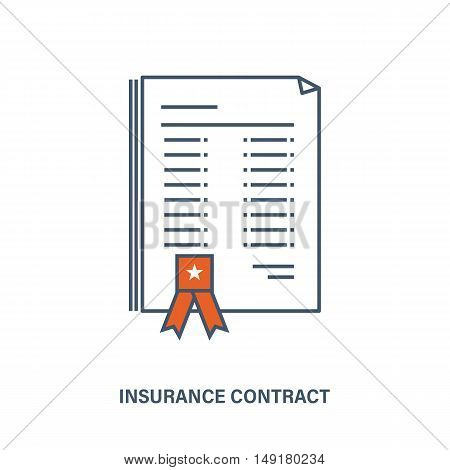 The main idea of this illustration in insurance services, the image of the contract of life insurance. The vector illustration can be used in banners, advertising, web elements, brochures.