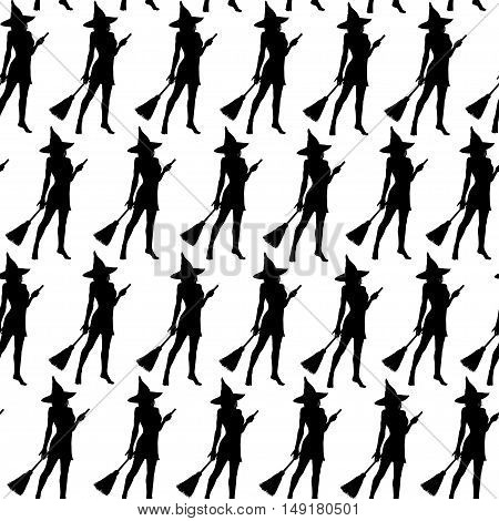 Black silhouettes of witch on white background. Halloween witches seamless pattern.