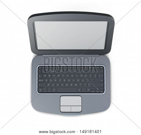 Top view 3d rendering black laptop. Isolated on white.