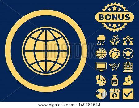 Globe icon with bonus elements. Vector illustration style is flat iconic symbols yellow color blue background.