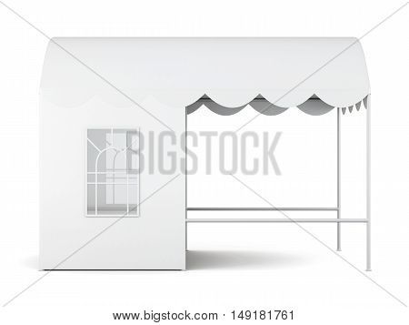 Fair Tent With Window Isolated On White Background. 3D Rendering