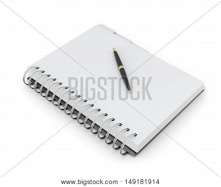 Notebook And Pen Isolated On White Background. 3D Rendering