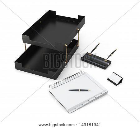 Paper Tray, Pen Stand And Notepad Isolated On White Background. 3D Rendering