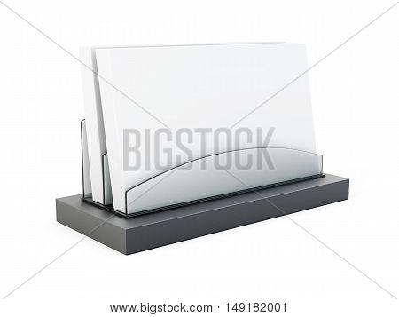 Business Card Holder On White Background. 3D Rendering
