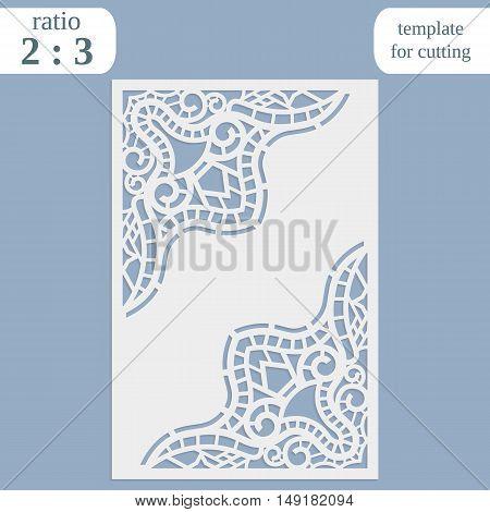 Laser cut wedding card template paper openwork greeting card template for cutting lace invitation lasercut metal panel wood carving vector illustration