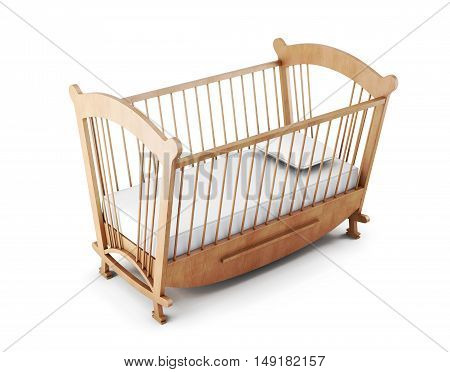 Wooden Cot Bed Isolated On White Background. 3D Rendering