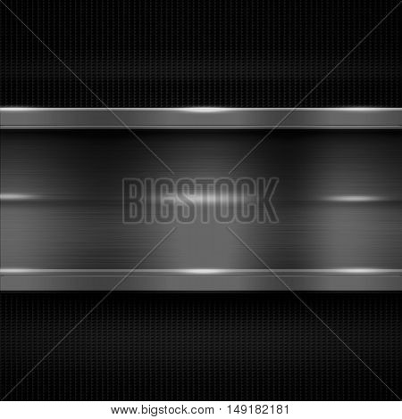 gray metal banner on black carbon fiber. metal background. 3d illustration.