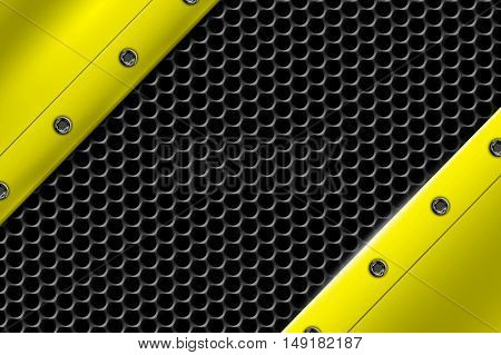 yellow metal background with rivet on gray metallic mesh. background and texture 3d illustration.
