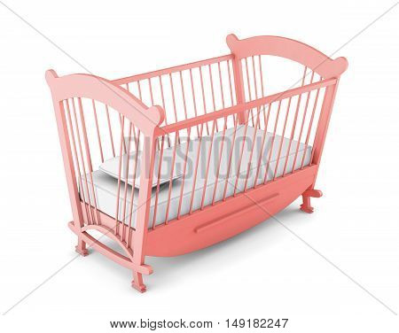 Pink Cot Bed Isolated On White Background. 3D Rendering