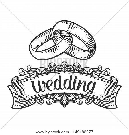 Wedding rings with lettering. Hand drawn in a graphic style. Vintage black vector engraving illustration for info graphic poster web. Isolated on white background
