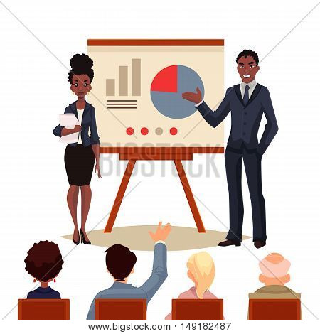 African American businessman and businesswoman holding presentation with white board cartoon style illustration. Black business man and woman at presentation a chart to a group of people