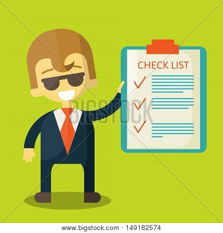 Happy businessman holding a list, illustration flat style. The man smiles and shows the plans for the future. Office worker tells how to manage your time.