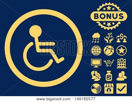 Handicapped icon with bonus elements. Vector illustration style is flat iconic symbols yellow color blue background.