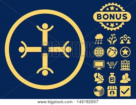 Hands Up Men icon with bonus design elements. Vector illustration style is flat iconic symbols yellow color blue background.