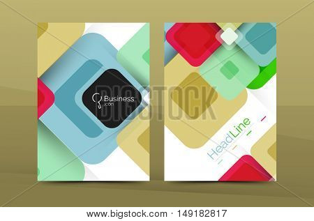 Square business abstract background, corporate print template. Vector