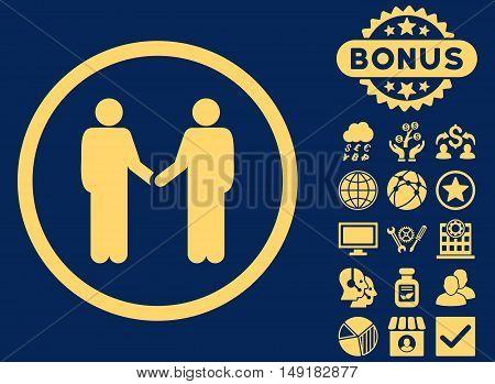 Handshake icon with bonus design elements. Vector illustration style is flat iconic symbols yellow color blue background.